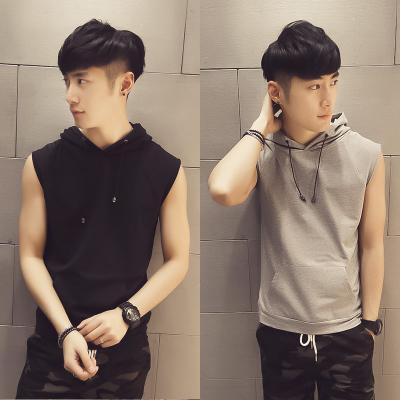 เสื้อแฟชั่นแขนกุดเกาหลี มีฮู้ด แต่งกระเป๋าเสื้อด้านล่าง มี2สี