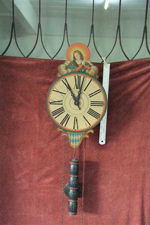 T0731 นสฬิกาแขวนเยอรมันโบราณ รูปพระแม่มารี ด้านล่างเป็นธงแขว้นบาวาเรียน เก่าสวย และหายากมาก ไม่อยากปล่อย ทำงานดีส่ง EMS ฟรี
