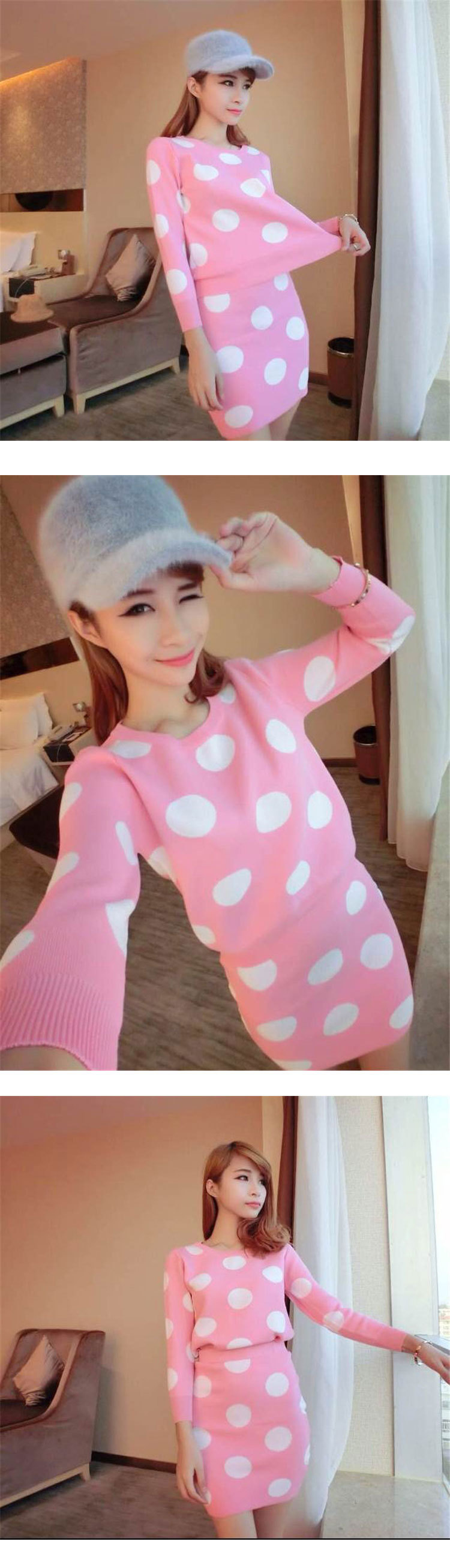 ++สินค้าพร้อมส่งค่ะ++ชุดเซ็ทเกาหลี เสื้อคอกลม แขนยาว ผ้า knit เนื้อแน่นมากทอลายจุดทั้งชุดและกระโปรงสั้นน่ารัก มี 4 สีค่ะ สีชมพู