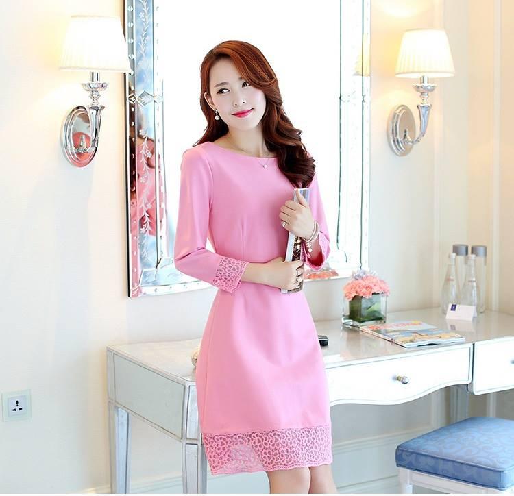 ชุดเดรสสวยๆ ผ้าคอตตอนผสมเนื้อนิ่มมาก สีชมพูเข้ม