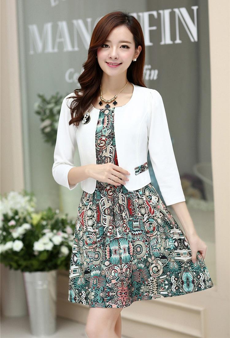 แฟชั่นเกาหลี Set 2 ชิ้น เสื้อสูท ผ้า cotton + ชุดเดรสแขนกุด ใส่ออกงานสวยหรูมากๆ