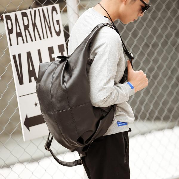 Pre-order กระเป๋าเป้สะพายหลัง ปรับสะพายข้างได้ เป้นักเรียนผู้ชายแฟชั่นเกาหลี รหัส Man-9816 สีดำ