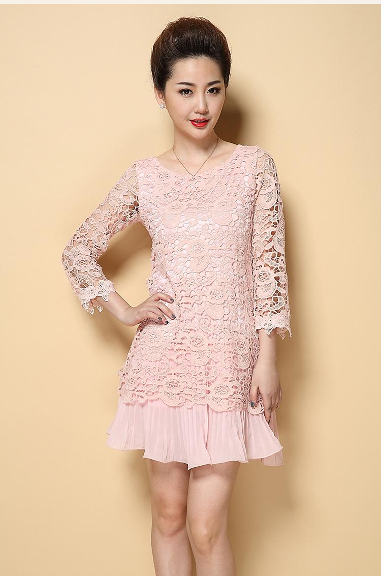ชุดเดรสสวยๆ ผ้าถักโครเชต์ ลายดอกไม้ สีชมพูตุ่น