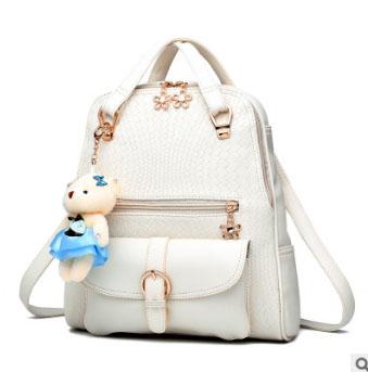 Pre-order กระเป๋าเป้สะพายหลังและสะพายข้าง ผู้หญิง แฟชั่นเกาหลี รหัส KO-992 สีขาว * แถมตุ๊กตา