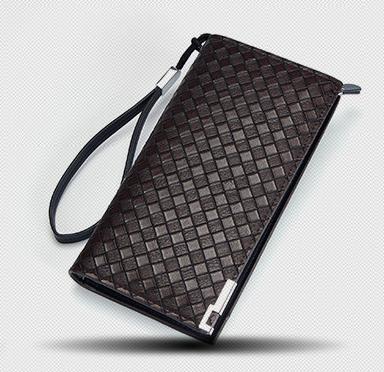 Pre-order กระเป๋าสตางค์ใบยาว ใส่โทรศัพท์ ลายสานผู้ชายแฟขั่นเกาหลี รหัส Man-QBA017 สีน้ำตาลเข้ม