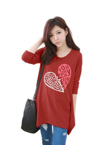 เสื้อยืดเกาหลีแขนยาว ปลายหยัก ผ้า Cotton Combed ลาย Broken Heart สีส้ม