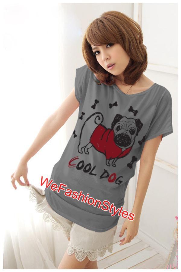 เสื้อยืดแฟชั่น ผ้านุ่ม ลาย Cool Dog (Size M:36 นิ้ว) สีเทา