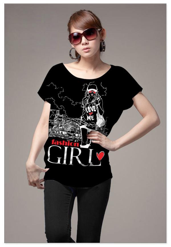เสื้อยืดแฟชั่น ผ้านุ่ม ลาย Fashion Girl สีดำ