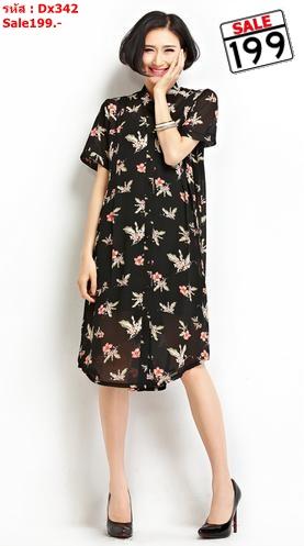 #เสื้อคลุมท้องแฟชั่น ตัวยาวผ้าชีฟองโปร่ง แขนสั้น ลายดอกไม้ สีดำ รูปทรงน่ารักใส่สบายคะ