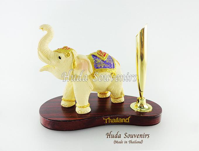 ของที่ระลึก ช้างทรงเครื่องเรซิ่น ที่เสียบปากกา รูปช้างอ้วนชูงวง สินค้าพร้อมส่ง