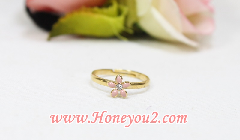 แหวน ดอกไม้เล็ก 5 กลีบ สีชมพู