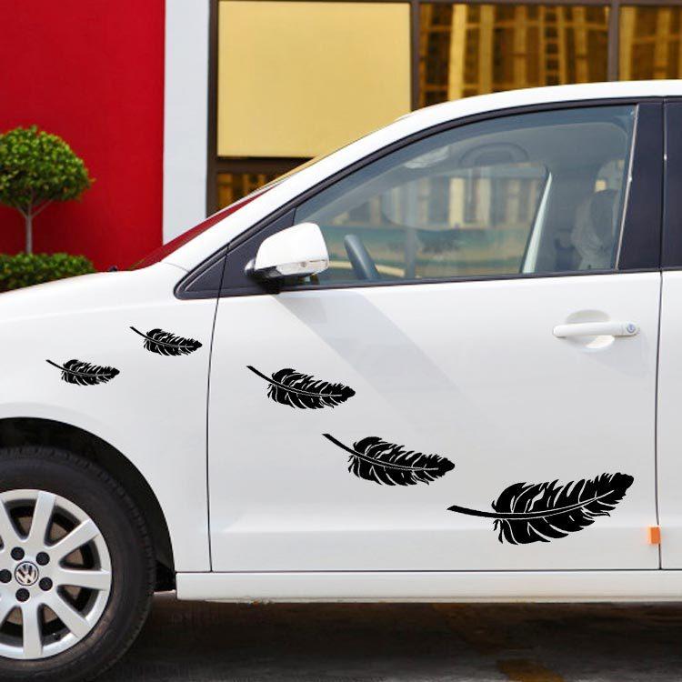 สติ๊กเกอร์แต่งรถยนต์ลายขนนก 5 ชิ้น 5 ขนาด (สีดำ)
