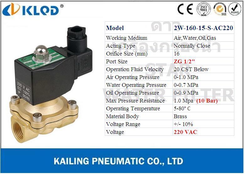 Solenoid Valve ทองเหลือง,คอยล์กันน้ำ 1/2 นิ้ว (4 หุน) 220VAC (NC) KLOD