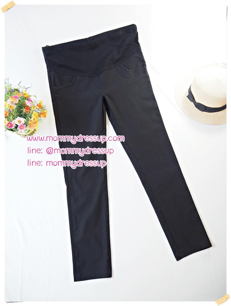กางเกงขายาวทำงานสีดำขาเดฟ แต่งขอบกระเป๋าด้วยผ้าลูกไม้ดำ