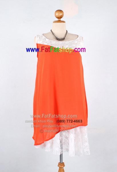 f004-45-50-ชุดไปเที่ยวใส่ไปงานคนอ้วน ผ้าซีฟองสีส้มแต่งด้วยผ้าลูกไม้สีขาวช่วงอกและช่วงชายเดรส ซับในทั้งตัว ช่วงชายเฉียง รอบอก 48 นิ้ว
