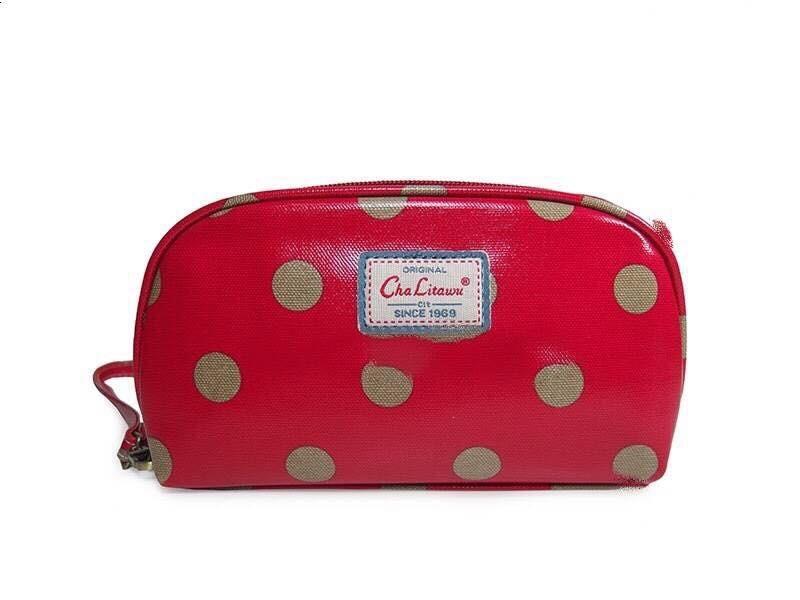 กระเป๋าสตางค์ Chalita wu สีเลือดหมู ลายจุด