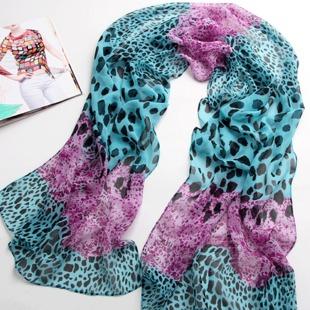 ผ้าพันคอชีฟอง เสือดาวสีฟ้าม่วง ( รหัส P45 )