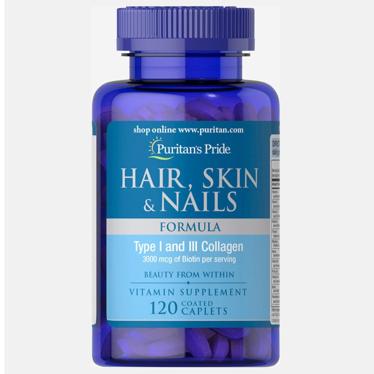Puritan's Pride, Hair Skin & Nails Formula, 120 Caplets