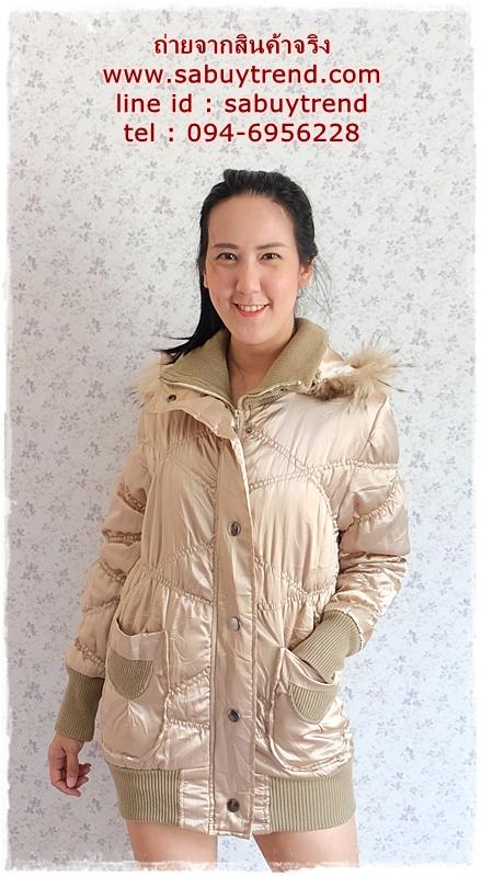 ((ขายแล้วครับ))((คุณNooknickจองครับ))ca-2732 เสื้อโค้ทกันหนาวสีบอร์นทอง รอบอก36-38